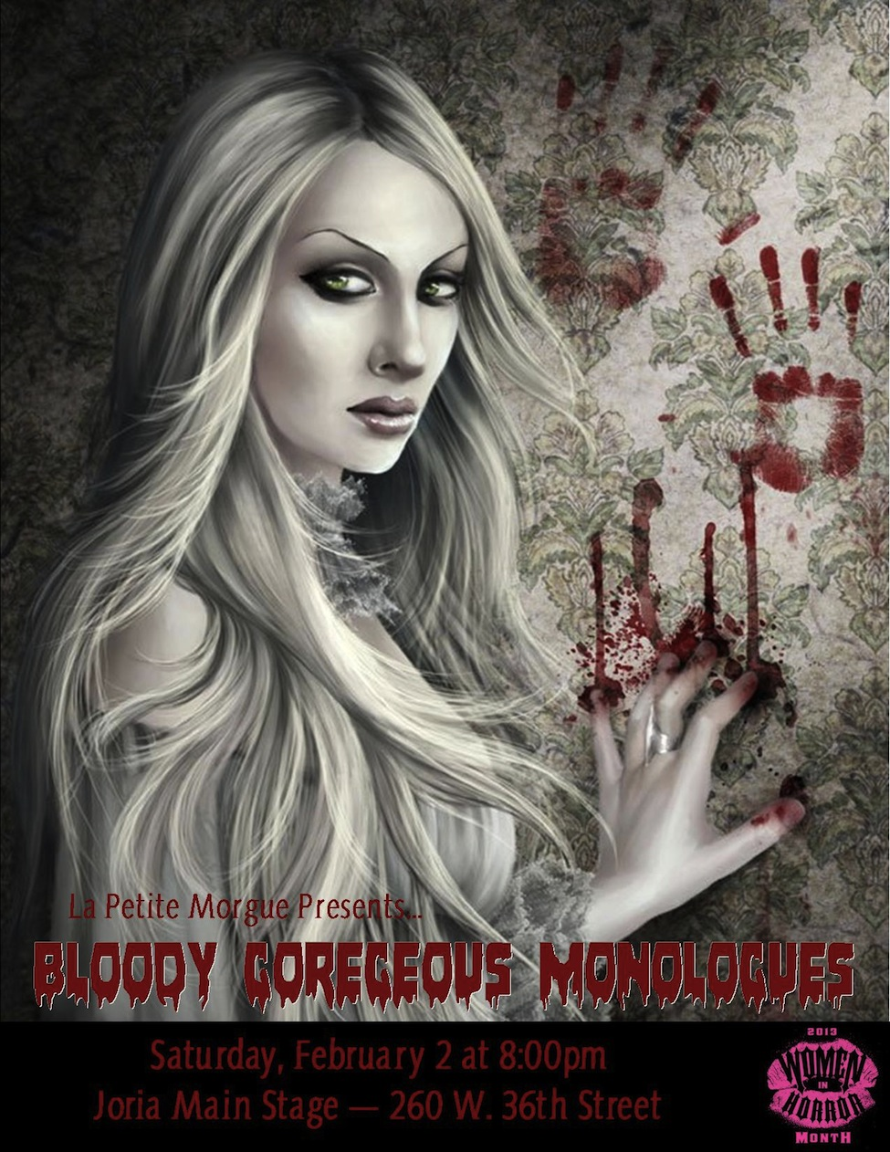 Postcard for BLOODY GORGEOUS MONOLOGUES from La Petite Morgue.